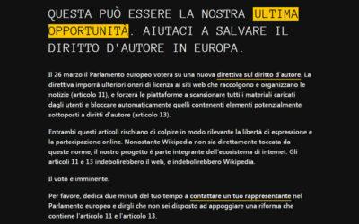 Wikipedia Italia oscura le sue pagine per protestare contro la riforma del copyright